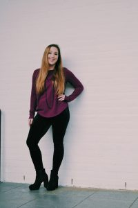 black velvet leggings with purple sweater