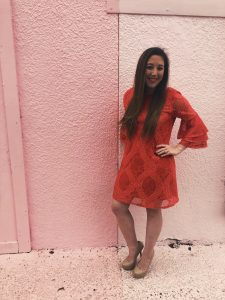 Red lacy Valentine's Day dress