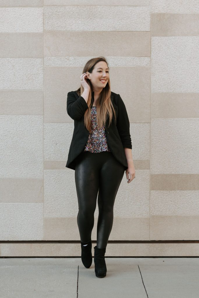 faux leather leggings and sequined top